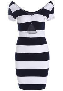 Royal Blue White V Neck Striped Bodycon Dress