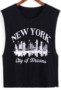Black Round Neck NEW YORK Print Tank Top