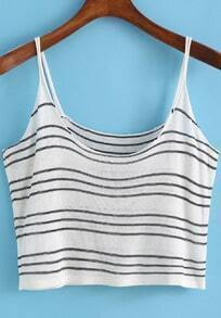 White Spaghetti Strap Striped Crop Cami Top