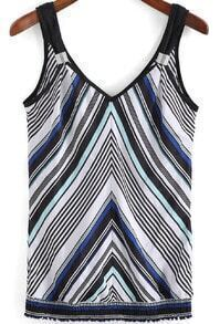 Black White Strap Striped Chiffon Cami Top