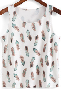 White Round Neck Feather Print Tank Top