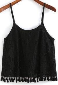 Black Spaghetti Strap Lace Cami Top