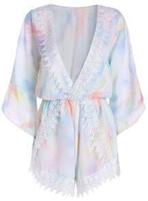 Multicolor Deep V Neck Lace Chiffon Jumpsuit