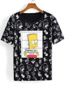 Black Short Sleeve Simpson Print T-Shirt