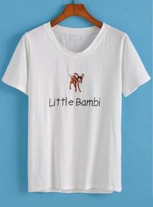 White Round Neck Deer Letters Embroidered T-Shirt