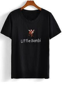 Black Round Neck Deer Letters Embroidered T-Shirt