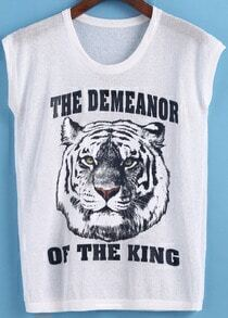 White Round Neck Letters Tiger Print Tank Top