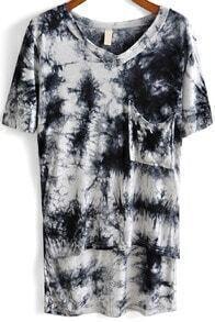 Black V Neck Print Pockets Loose T-Shirt