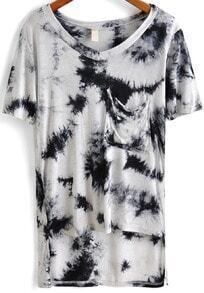 White V Neck Print Pockets Loose T-Shirt