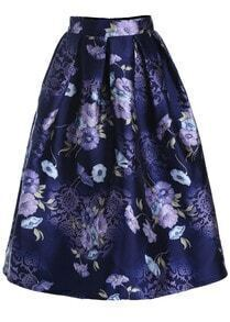 Purple Floral Flare Long Skirt