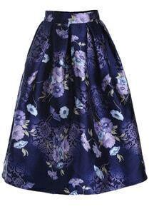Purple Floral Flare Long Skirt