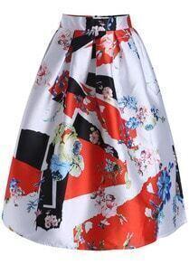 White Floral Flare Long Skirt