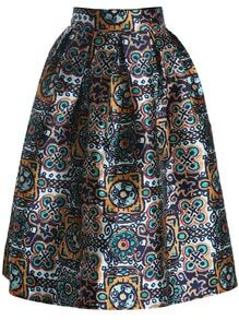 Green High Waist Floral Flare Skirt