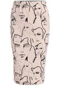 Apricot Slim Face Print Skirt