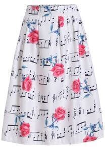 White Rose Note Print Flare Skirt