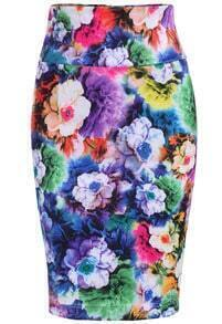 Multicolor Floral Slim Bodycon Skirt