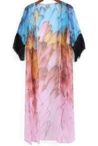 Multicolor Feather Print Tassel Chiffon Kimono