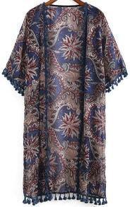 Blue Half Sleeve Floral Tassel Chiffon Kimono