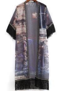 Blue Beauty Print Tassel Chiffon Kimono