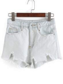 Light Blue High Waist Ripped Denim Shorts