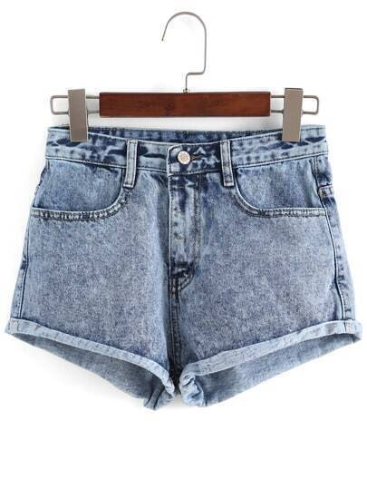 Blue High Waist Fringe Denim Shorts