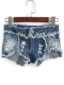 Blue Ripped Fringe Rivet Denim Shorts