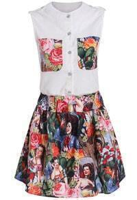 White Sleeveless Floral Top With Beauty Print Skirt