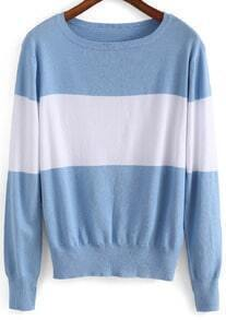 Blue White Long Sleeve Knit Loose Sweater