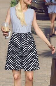 Grey Sleeveless Polka Dot Dress