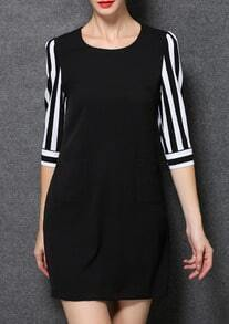Black Round Neck Vertical Striped Dress