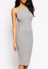 Grey Halter Backless Bodycon Dress
