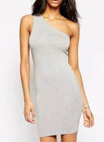 Grey One-Shoulder Bodycon Dress