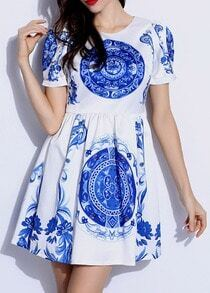 White Short Sleeve Flower Print Flare Dress