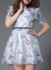 Blue Doll Neck Flower Print A-Line Dress