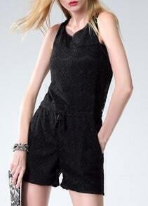 Black Sleeveless Lace Romper
