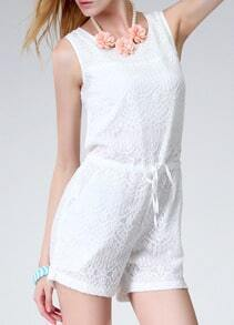 White Sleeveless Lace Romper