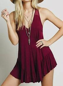 Red V Neck Peplum Hem Romper