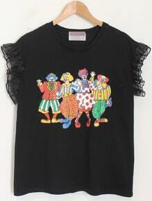 Black Ruffle Sleeve Cartoon Print T-Shirt