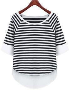 White Contrast Hem Striped T-Shirt