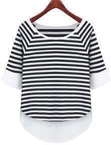 White Contrast Hem Striped T-Shirt
