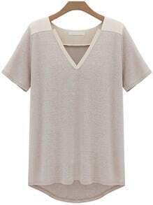 Khaki V Neck Dip Hem T-Shirt