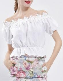 White Boat Neck Puff Sleeve Top