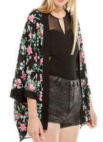 Black Long Sleeve Florals Loose Kimono