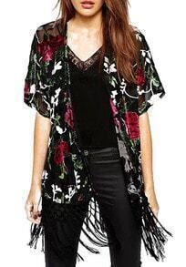 Black With Tassel Short Sleeve Florals Kimono