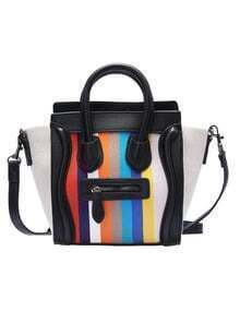 Black Vertical Striped PU Shoulder Bag
