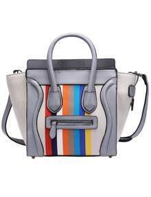 Grey Vertical Striped PU Shoulder Bag