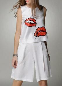 White Lip Print Sequined Tank Top With Pant