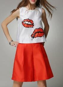 Red Lip Print Sequined Tank Top With Pant