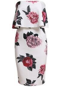 Strapless Florals Ruffle Bodycon Dress