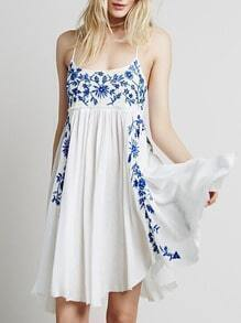 Spaghetti Strap Embroidered Shift Dress